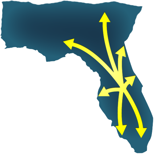 Illustration of the map of Florida with arrows pointing from our Orlando hum to the locations we service.